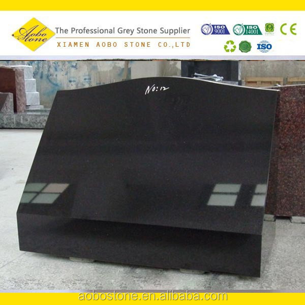 Dark Grey G654 black granite grave statues,Polished granite grave markers