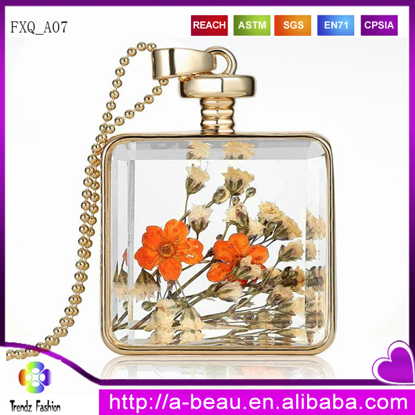Wholesale Dry Flower Necklace Glass Bottle Necklace Gold Round FXQ_<strong>A07</strong>