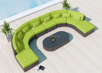 Contemporary U shape large family party outside plastic rattan sofa sunroom furniture sets