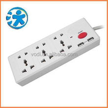 ABS/PC plastic universal vertical multiple switch usb adapter electrical plug socket