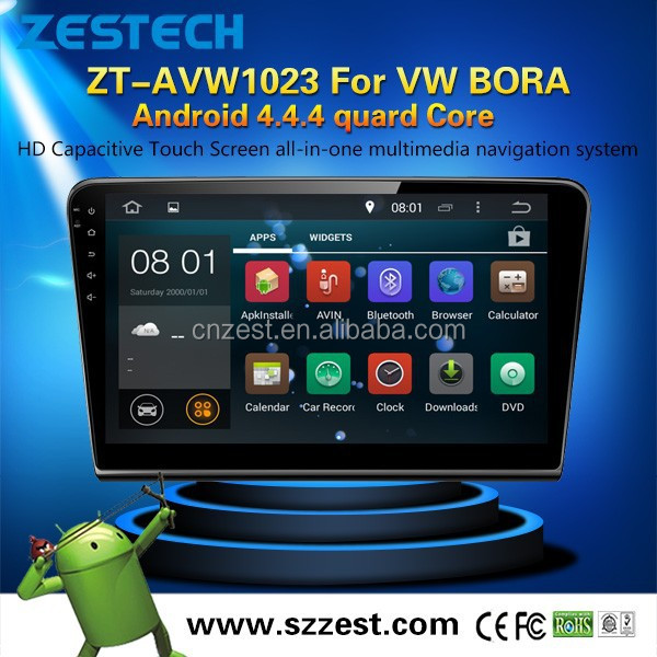 Latest Android4.4.4 up to 5.1 dashboard placement car dvd player for VW bora MCU 1.6G 4 core 3g wifi OBDII