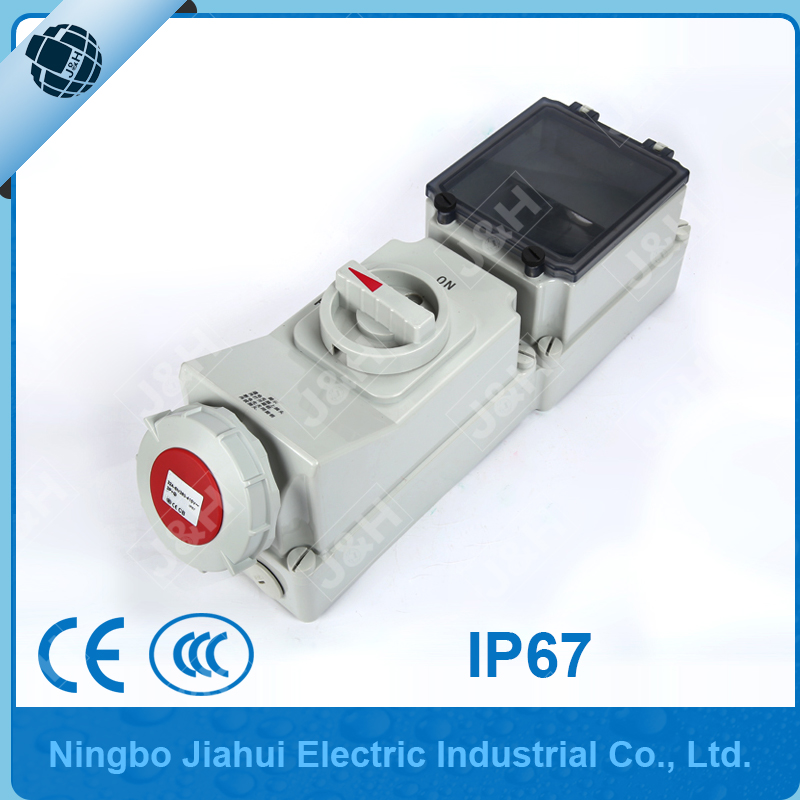 Jiahui IP67 international standard socket with duo interlock and din standard install tail waterproof industrial 32A 4P socket