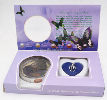 ROSE love wish Pearl Necklace Pendant Locket Freshwater Cultured Pearl in Oyster Kit Gift Set