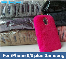 For iPhone 6/6Plus Samsung Mobile Phone Accessory Anti Dust Smart Slim Anti Drop Faux Rabbit Fur and PC Back Case Back Cover