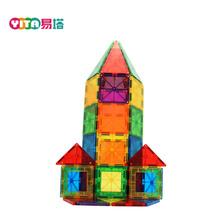 Magnetic building toys 100 pieces 3D model of geometric shapes plastic connecting blocks for kids