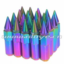 Neo Chrome Spiked Wheel Locking Nut P1.5 P1.25
