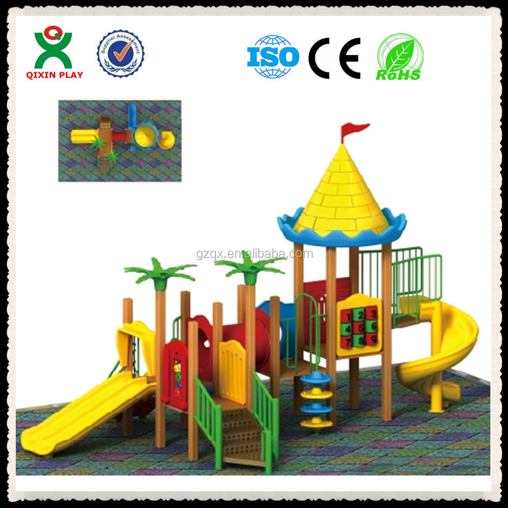 Guangzhou factory made wood playground equipment outdoor wooden playsets QX-074A
