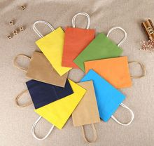 Recycled colorful kraft paper bag Customized Shopping bags with logos