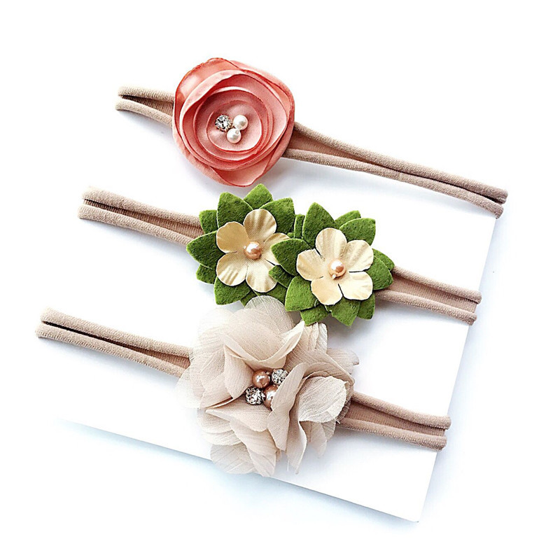 3 Pcs/Set Baby Girls Nylon fancy flower Headband <strong>hair</strong> <strong>accessories</strong> set for children
