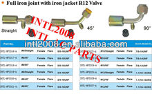 auto air conditioning hose fitting beadlock hose fitting crimp on fitting hose splice with R134a service port