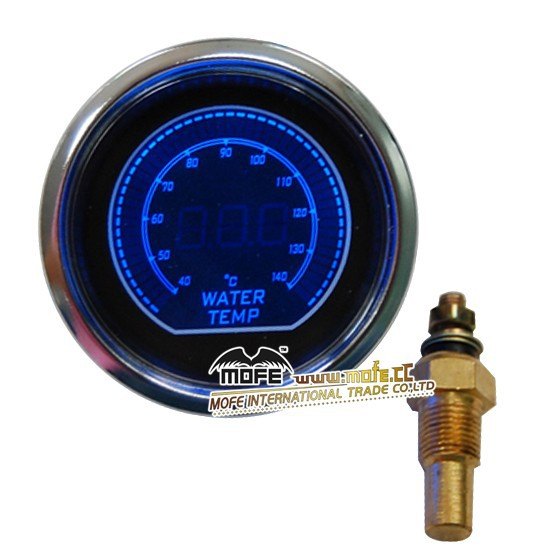 "Blue Universal Original Logo 52mm 2"" Stepper Motor Blue/ Red LCD Display Water Temp. Temperature Gauge With Sensor"