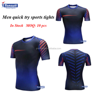 2016 new arrival compression short sleeves tshirt muti colors sport quick dry fitness shirt