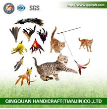2016 fashion wholesale retractable cat teaser stick toys,feather wand cat toy,