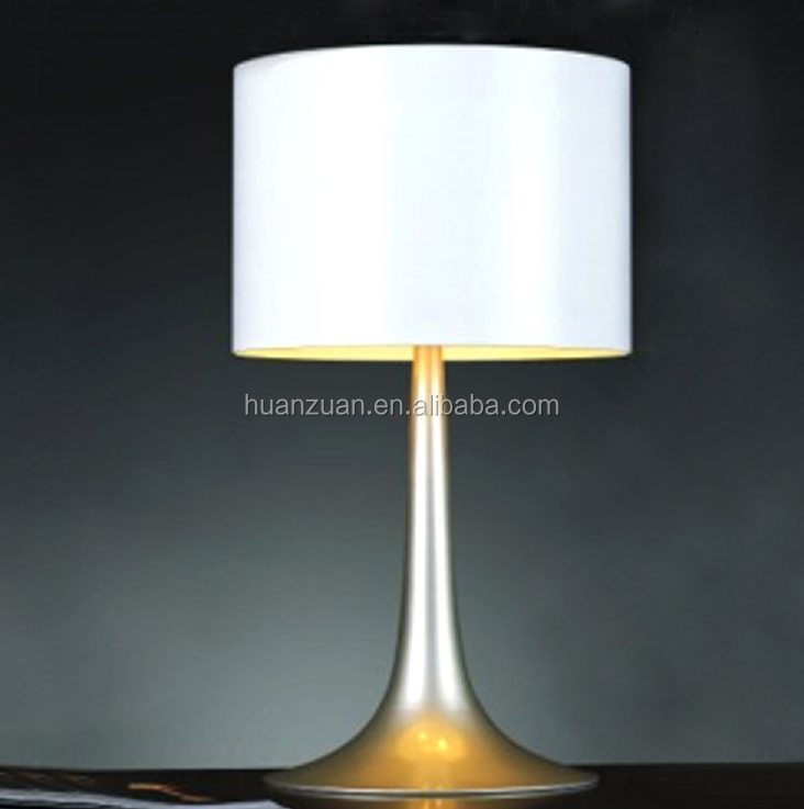 modern aluminum base frosted glass lampshade table lamp
