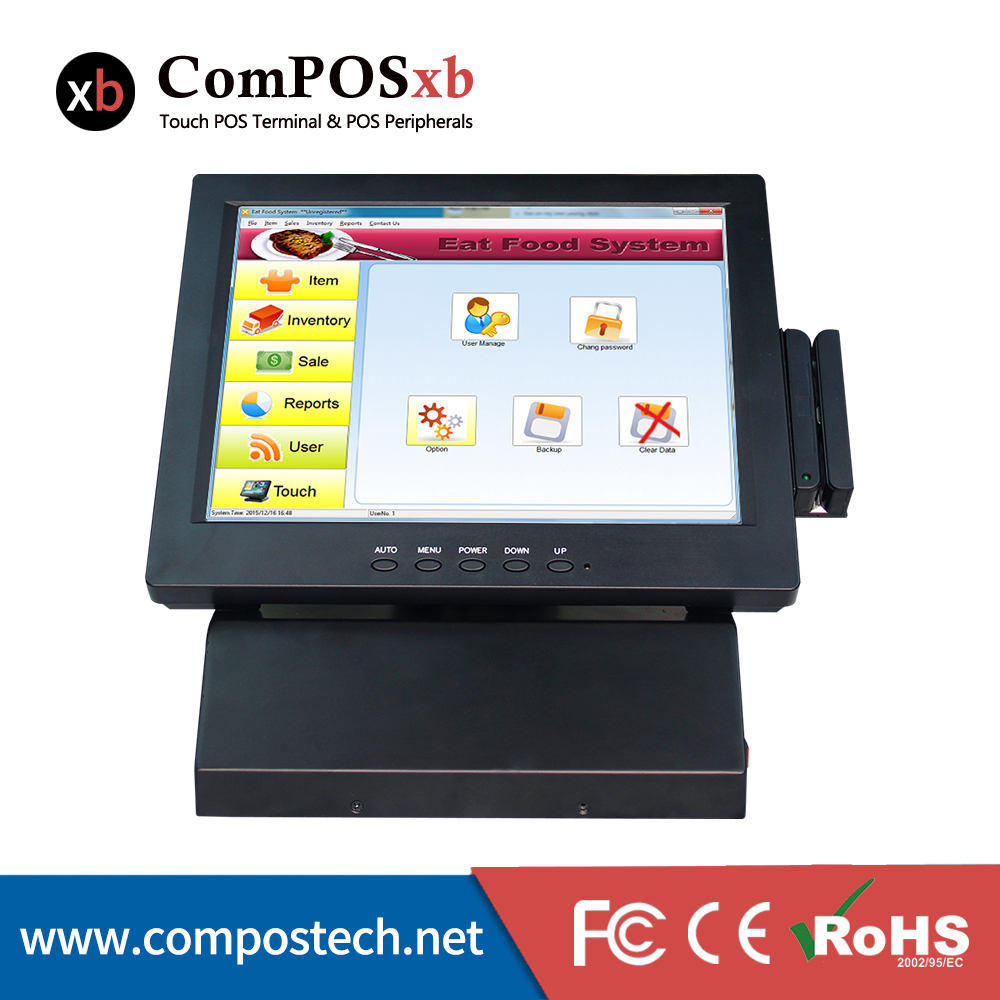 12 Inch windows 7 pos touch screen pos system all in one pos pc for department store