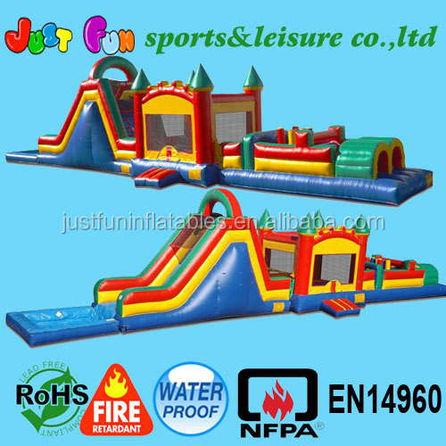jump slide inflatable obstacle course with pool for sale