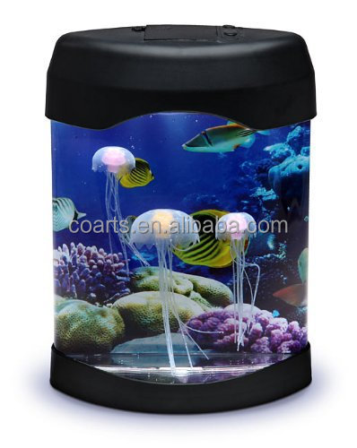 Novelty LED desktop mood Lamp mini jellyfish tank