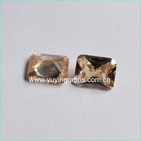 8mm*10mm Hot Sale Rectangular Sharp Base Champ CZ Gemstone