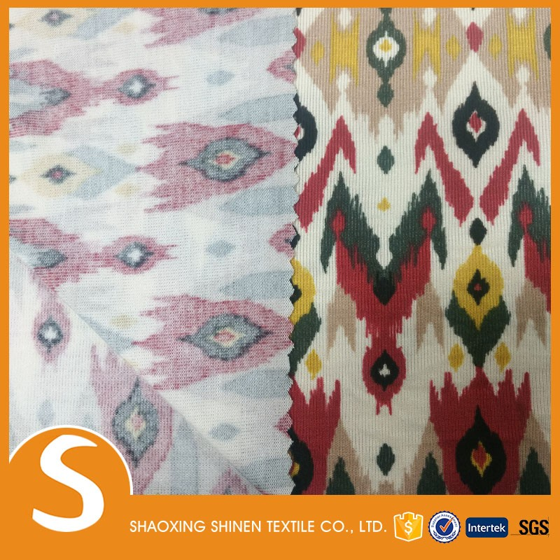 2017 printing 95% Rayon 5% span single jersey knit fabric quality