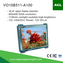 10.4 inch svga 1100nits sunlight readable open frame lcd display monitor