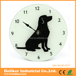 lovely dog design glass wall clock for decor