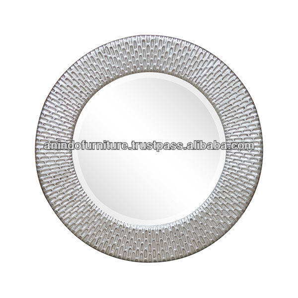 Aqua Series Round Carved Mirror