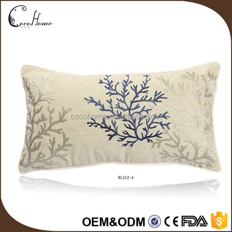 2017 Hot sale high quality handmade cushion cover waist linen pillow case embroidery designs