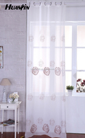 Chain embroidered sheer curtain fabric