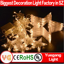 Romantic led star shaped star curtain light 2M 138Leds christmas star string lights curtain fairy string lights 12 drop lines