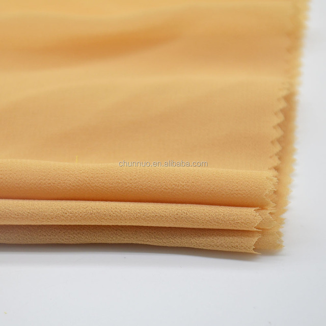 Chunnuo Shaoxing 75D High Twist Plain Dyed Polyester Hijab Chiffon Fabric