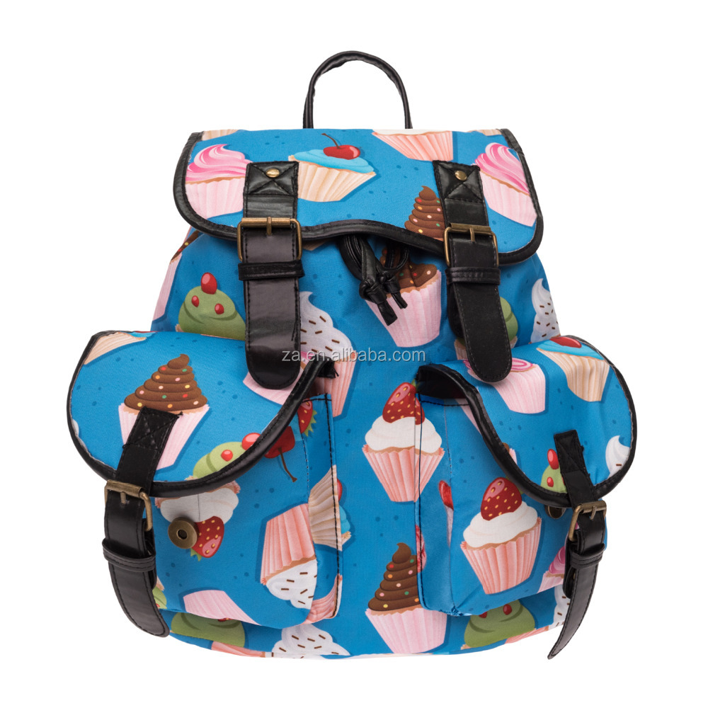 2016 3d printed muffin cartoon Vintage Canvas Rucksacks Cute School Satchel Rucksack Backpack Campus Bag