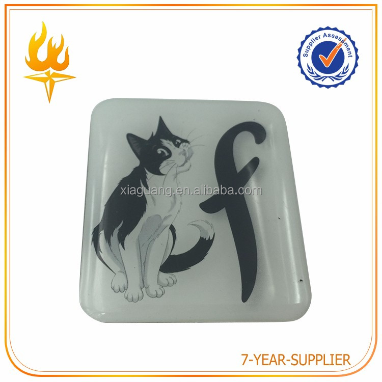 High quality clear and square epoxy fridge magnet