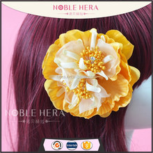 Large yellow camellia flower plain magnetic hair clips