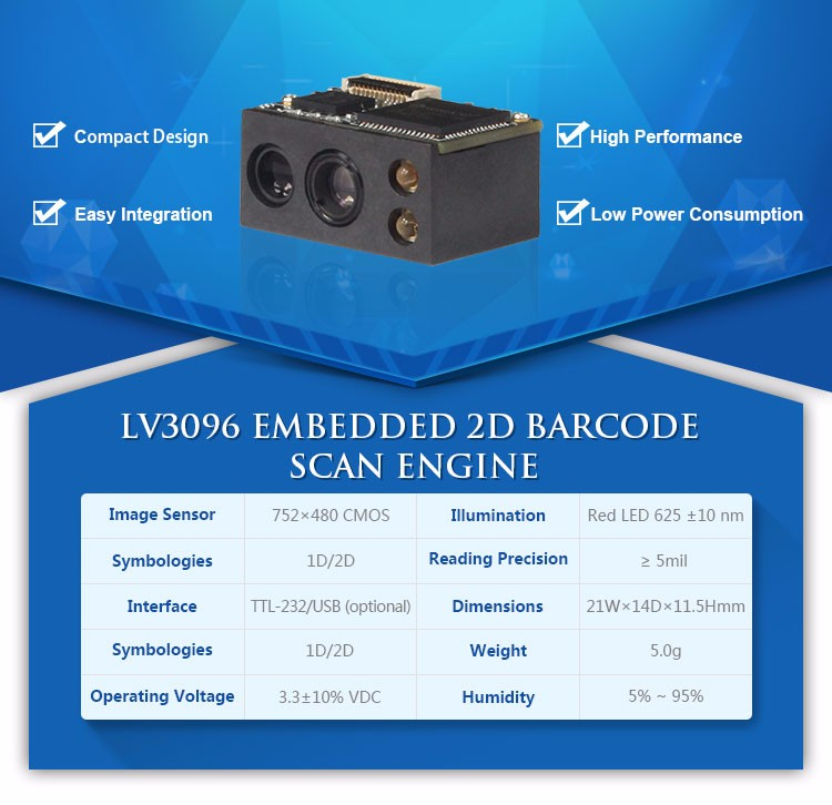 2017 Portable 2D Barcode Scanner Module for Medical Devices with Low Cost
