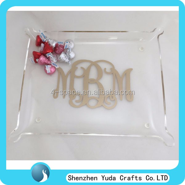 acrylic home decor serving tray home state vanity tray monogrammed small elegant acrylic pinched corner tray