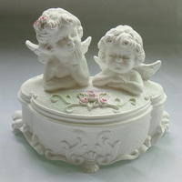 Hot sale new design resin wedding favors angel jewelry boxes angel baby tooh saving boxes