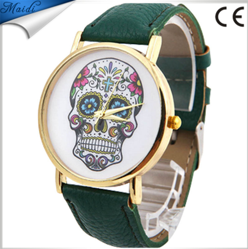 China Cheaper 2017 Fashion Design Women Dress Wrist watches Quartz Leather fashion SKULL Lady Men Sport Watch LW008