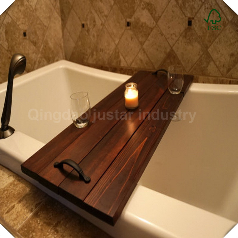 New Design Bathroom Accessories Wood Luxury Bathtub Caddy Bath Tub Tray with Extending