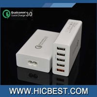 CE RoHS FCC Qualcomm Approved 5 port QC3.0 quick usb charger with US/EU/UK plug