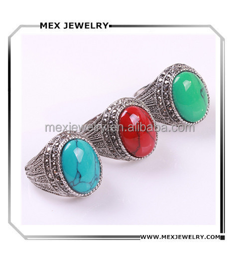 Fashion Nepal turquoise red green blue stone Tibetan silver mens turkey crystal ring jewelry