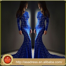 SPD22 Hot&Sale Long Sleeve Mermaid Evening Gown with Court Train Royal Blue Muslim Prom Dresses