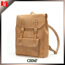 custom Vintage crazy horse leather Traveling smart backpack for students