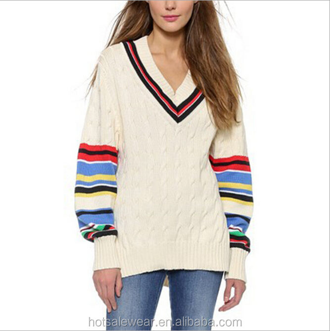 2016 Autumn Wholesale V-Neck Striped Cable Knit Women Cricket Jumper MMY-16862
