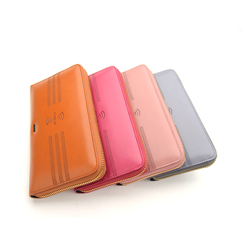 Fashion Multifunctional Wireless Charger Ladies Purse Zipper Wallet