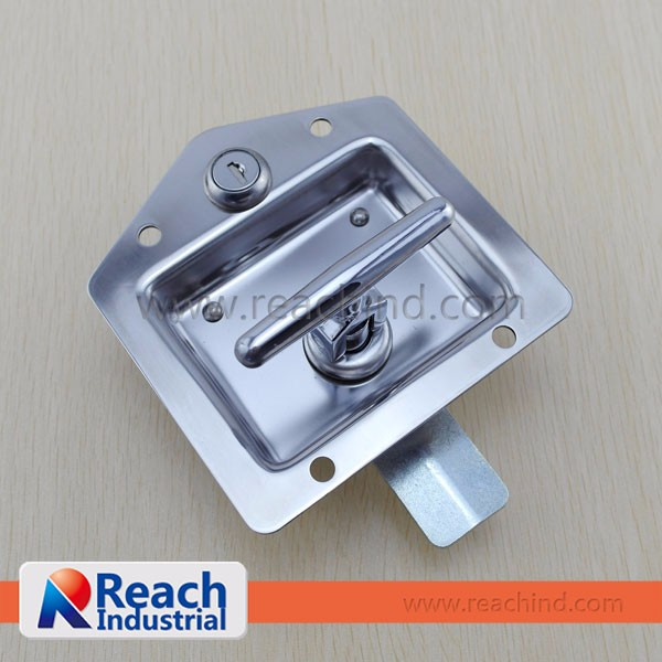 Stainless Steel Flush Mount Key-Locking Recessed T Handle Trailer Lock
