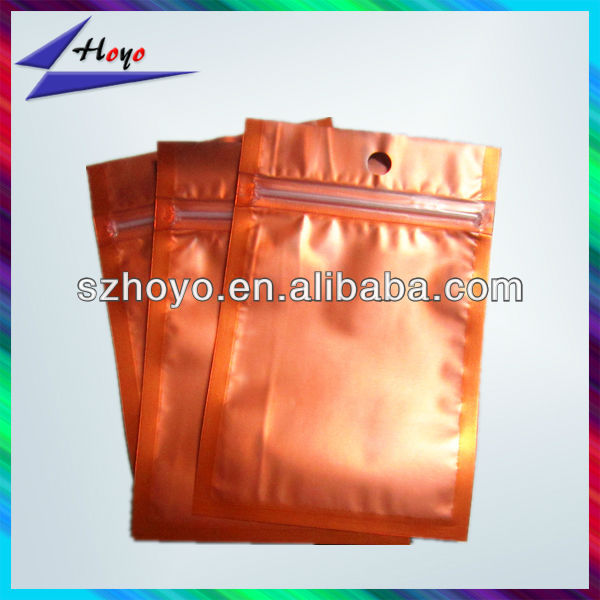 orange colored foil sides seal zipper bag with die cut reusable