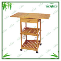 rubber wood utility kitchen serving cart