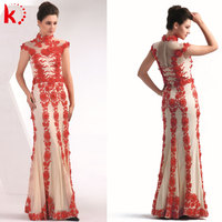 Elegant embroidery high neck cap sleeve tulle long red evening dress