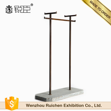 Customized retail store black iron metal antique single bar clothes display rack