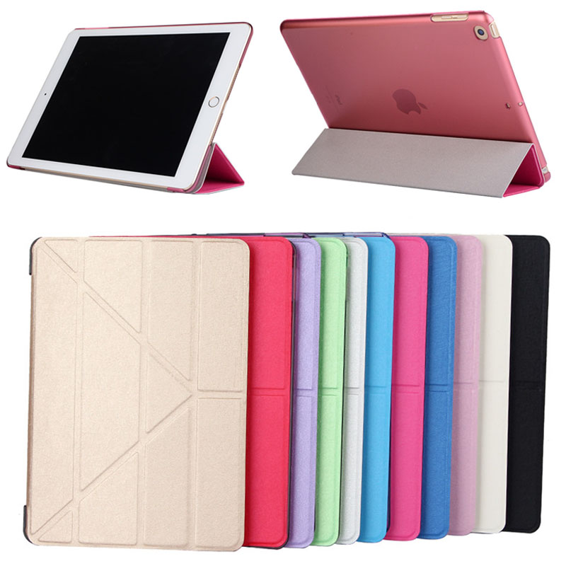 Hot selling Silk pattern deformation protection cover for ipad 9.7 2017,mixed color is ok